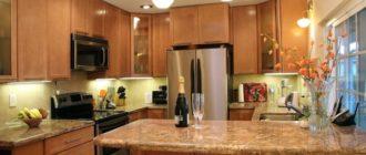 Точечное освещение на кухне с помощью светильников + фото