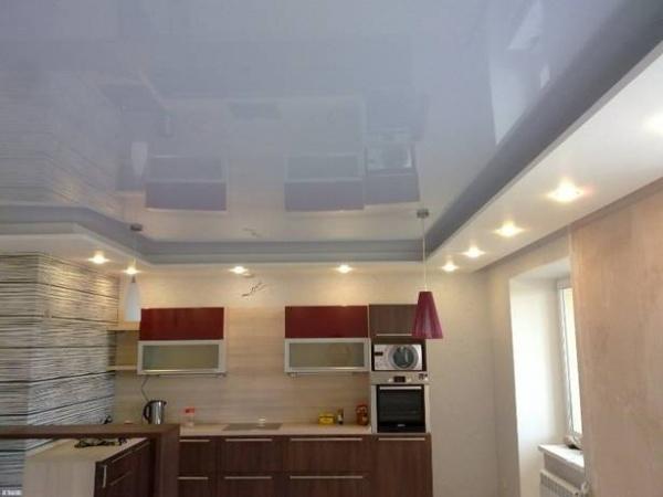 Дизайн потолка на кухне с фото: натяжные потолки из гипсокартона
