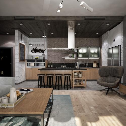 Кухня в стиле лофт + фото