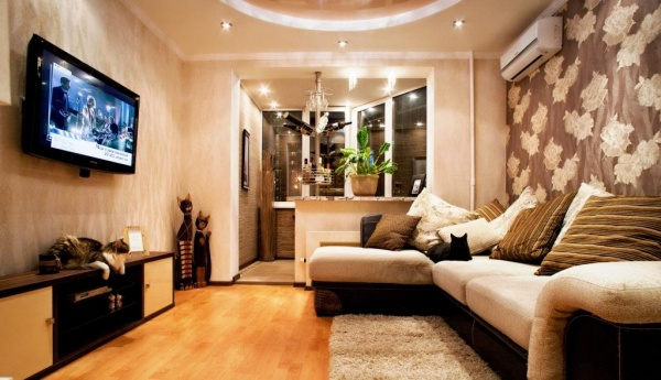 Дизайн спальни совмещенной с лоджией + фото