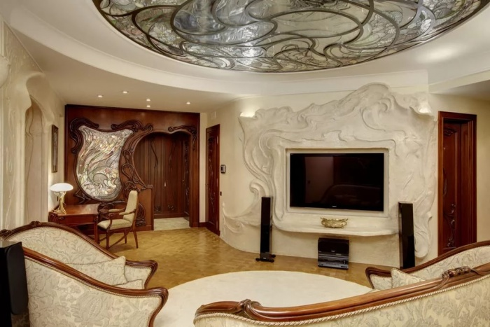 Стиль модерн в интерьере гостиной + фото
