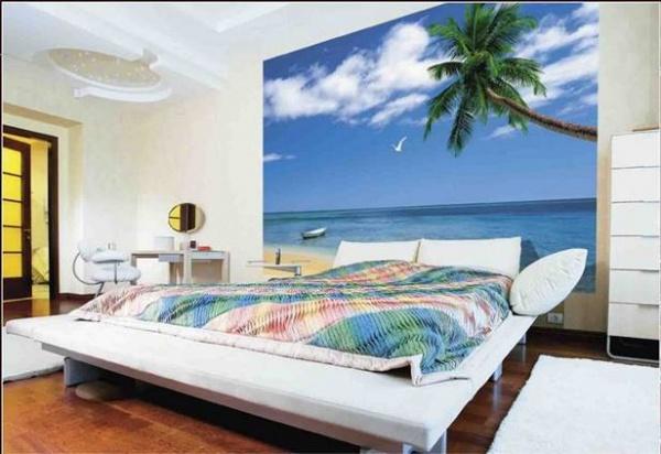 Фотообои в спальню над кроватью на стену + фото