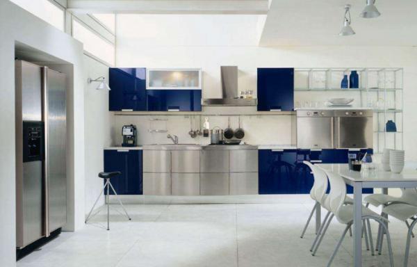 Бело-голубая кухня в интерьере + фото