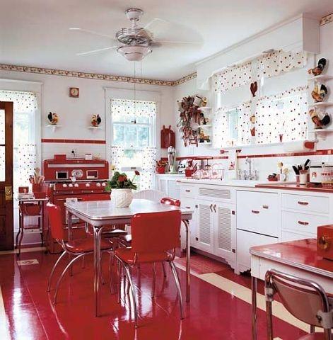 Красно-белая кухня + фото