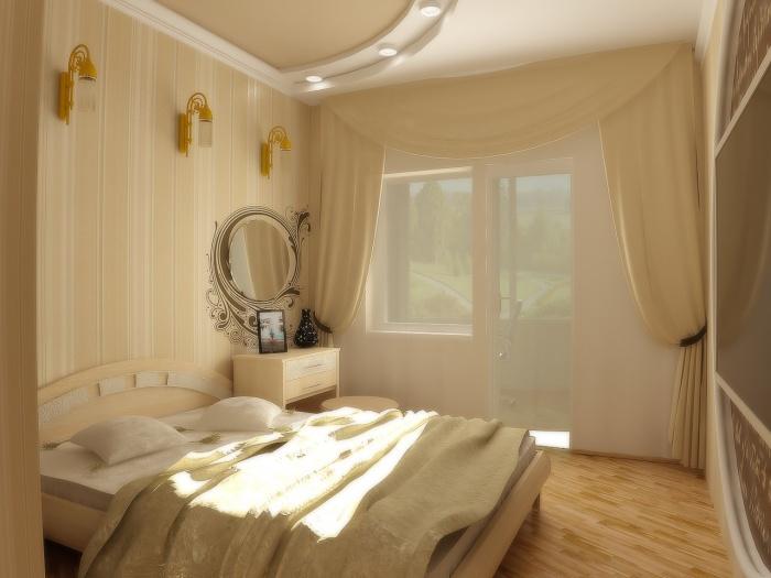 Обои в спальню со светлой мебелью + фото