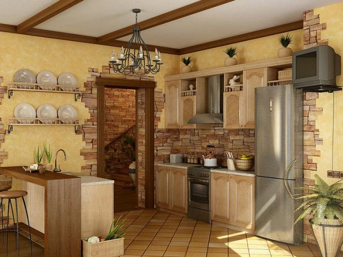 Отделка стен на кухне + фото