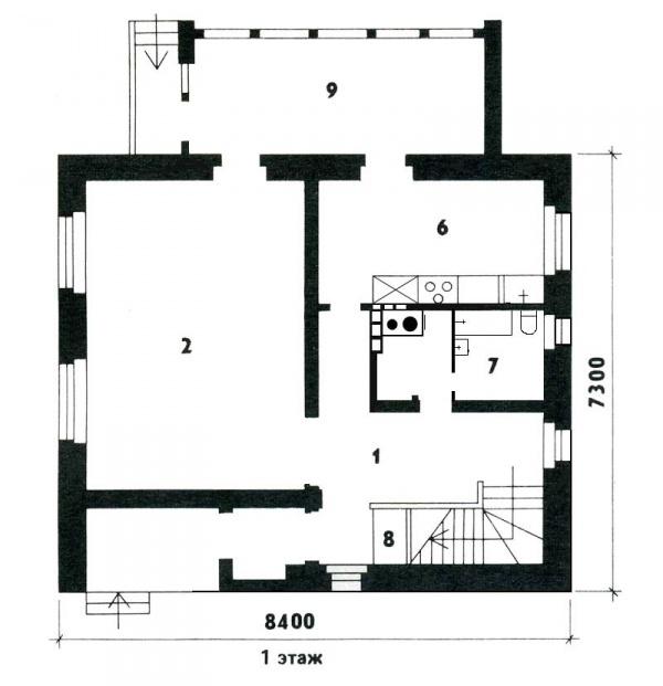 Планировка одноэтажного дома 7х8 + фото