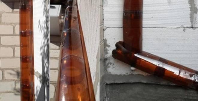 Водосток из пластиковых бутылок